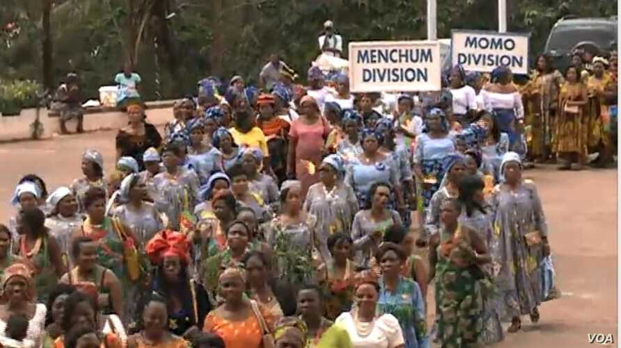 Women from the English-speaking regions march for peace in Yaounde, Cameroon, April 18, 2019.
