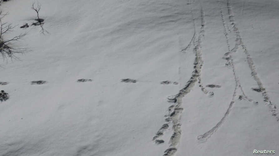 Footprints are seen in the snow near Makalu Base Camp in Nepal, in this picture taken on April 9, 2019, obtained from social media on April 30, 2019.