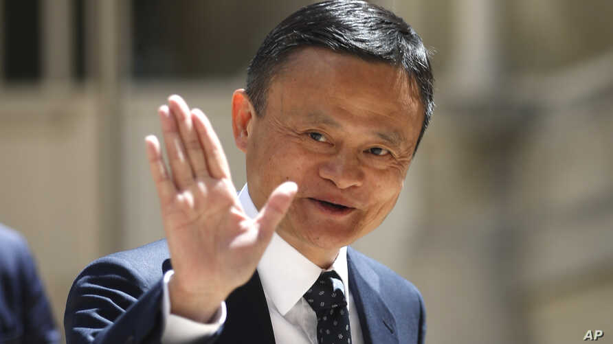 Founder of Alibaba group Jack Ma arrives for the Tech for Good summit, May 15, 2019 in Paris.