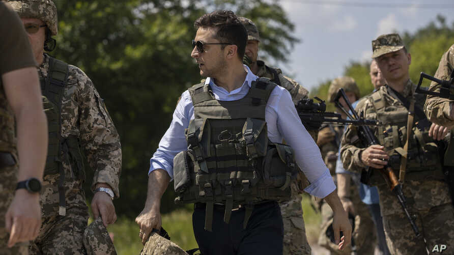 Ukrainian President Volodymyr Zelenskiy visits the war-torn Luhansk region, eastern Ukraine, May 27, 2019.