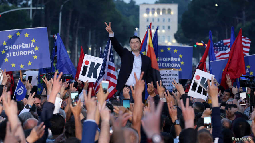 Albania's opposition Democratic Party leader Lulzim Basha speaks during an anti-government protest in front of the Parliament in Tirana, Albania, May 25, 2019.