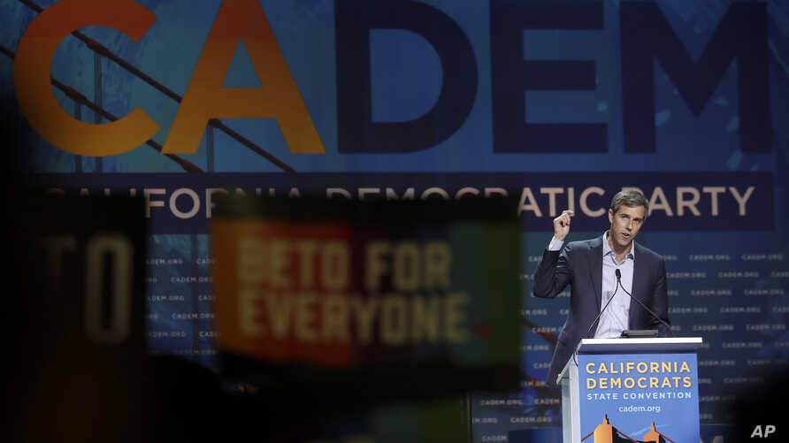 Democratic presidential candidate and former Texas Congressman Beto O'Rourke speaks during the 2019 California Democratic Party State Organizing Convention in San Francisco, June 1, 2019.