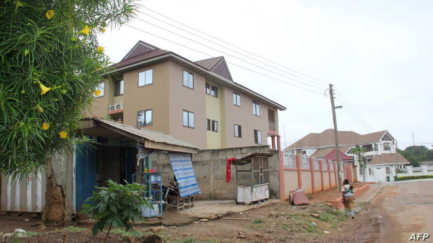 """This June 7, 2019 image shows the Silver Spring residence in Kumasi, where two Canadian women, 19 and 20 years old, were living before being kidnapped on June 4. - The Canadians, charity volunteers were taken on the evening of June 4, in Kumasi, Ghana's second city, some 200 kilometres (125 miles) northwest of the capital Accra, David Eklu, the assistant commissioner of police said in a statement. """"Police Command is investigating a complaint of kidnapping at Ahodwo, Kumasi Royal Golf Club, at 8:25 pm on 4 J"""