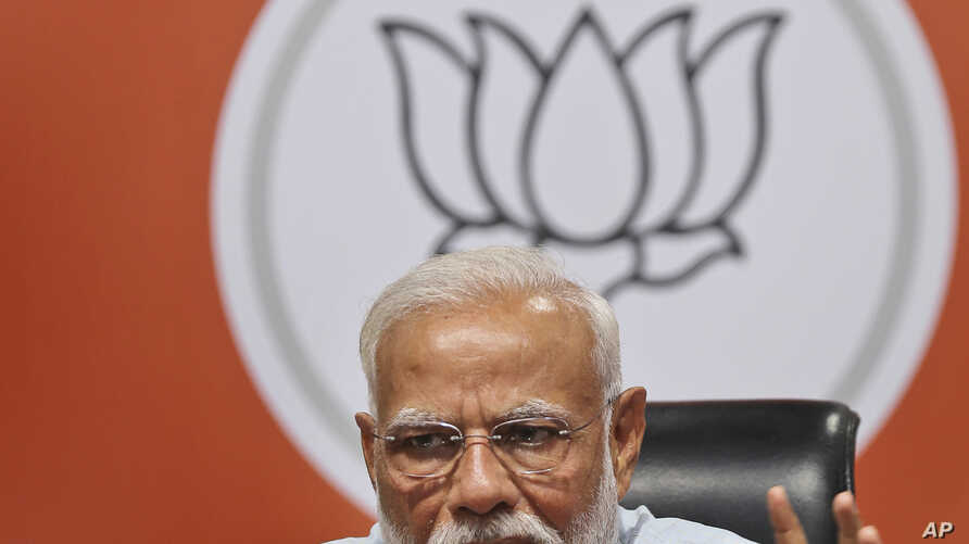Indian Prime Minister Narendra Modi makes a press statement at the party headquarters in New Delhi, India, May 17, 2019.