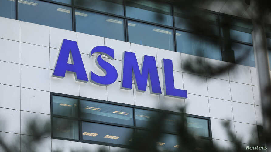 FILE - ASML Holding logo is seen at company's headquarters in Eindhoven, Netherlands, Jan. 23, 2019.