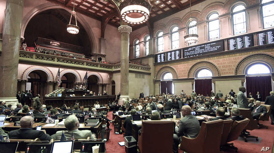 Members of the New York state Assembly vote on legislation that authorizes state tax officials to release, if requested, individual New York state tax returns to Congress, during a session in the Assembly Chamber at the state Capitol, Wednesday, May ...