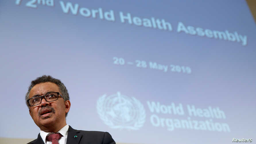 Director General of the World Health Organization (WHO) Tedros Adhanom Ghebreyesus attends the 72nd World Health Assembly in Geneva, Switzerland, May 20, 2019.