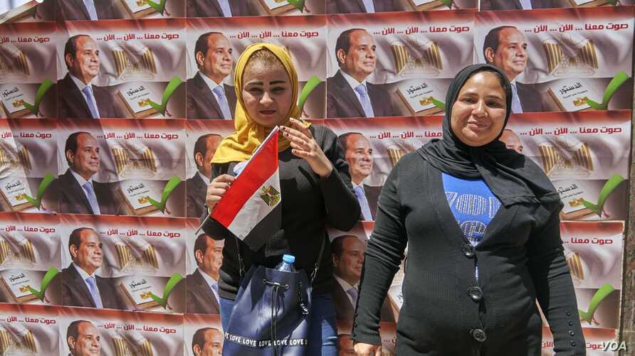 Manar, 20, was excited to vote in support of President Abdel-Fattah el-Sissi, but said she was unsure what constitutional changes are being proposed in Cairo on April 20, 2019.