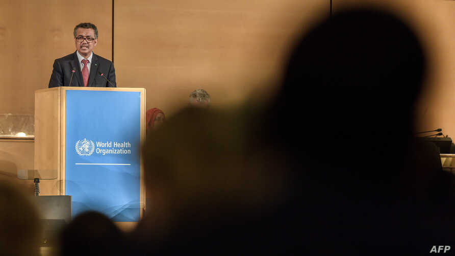 World Health Organization (WHO) Director-General Tedros Adhanom Ghebreyesus delivers a speech at the opening day of the World Health Assembly, May 20, 2019, at United Nations Offices in Geneva.