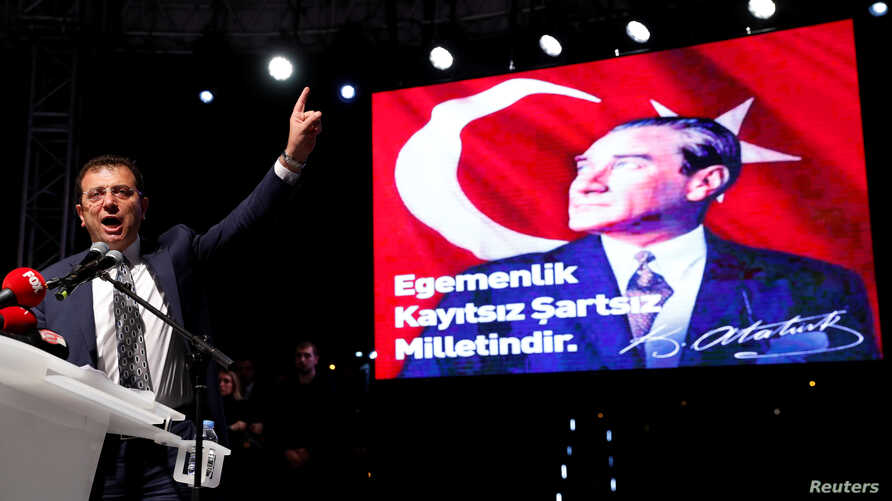 Ekrem Imamoglu of the main opposition Republican People's Party (CHP), who was elected mayor after the March 31 elections, addresses his supporters after the High Election Board (YSK) decided to re-run the mayoral election, in Istanbul, Turkey, May 6...