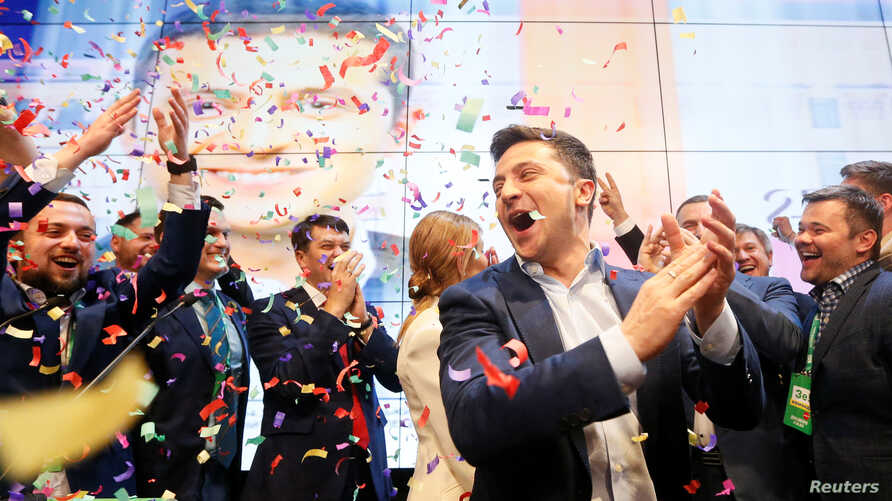 Ukraine, Kiev, Ukrainian presidential candidate Volodymyr Zelenskiy reacts following the announcement of the first exit poll in a presidential election at his campaign headquarters