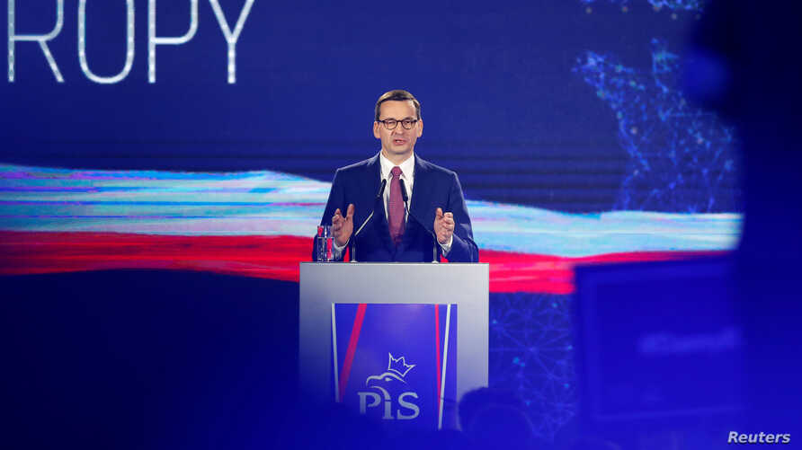 Poland's Prime Minister Mateusz Morawiecki speaks during a Law and Justice (PiS) party convention ahead of the EU election, in Krakow, May 19, 2019.