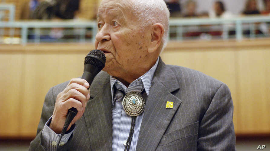Democratic New Mexico state Sen. John Pinto talks about his career as a lawmaker on American Indian Day in the Legislature on Feb. 2, 2018, in Santa Fe, N.M.