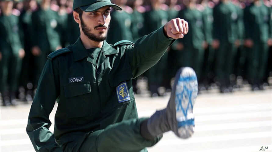 FILE PHOTO: An Iranian Officer of Revolutionary Guards,is is shown during graduation ceremony, held for the military cadets in a military academy, in Tehran, Iran June 30, 2018.