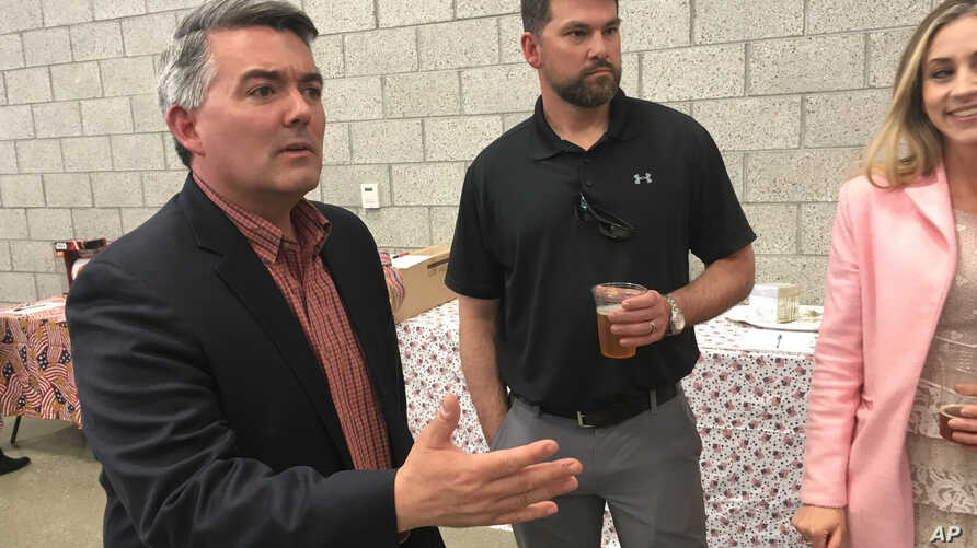 Sen. Cory Gardner, R-Colo., attends the Alamosa County Republicans Lincoln Day dinner in Alamosa, Colo., Apr. 24, 2019.