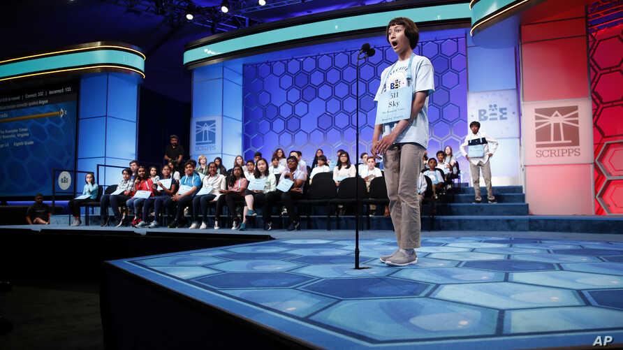 Sky Estrada, 14, of Goodview, Va., reacts after correctly spelling a word in the third round of the Scripps National Spelling Bee, Wednesday, May 29, 2019, in Oxon Hill, Md.