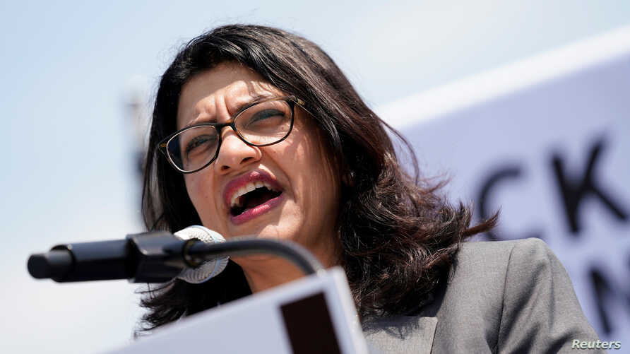 FILE - U.S. Rep. Rashida Tlaib (D-MI) speaks at a rally calling on Congress to censure President Donald Trump on Capitol Hill in Washington, April 30, 2019.