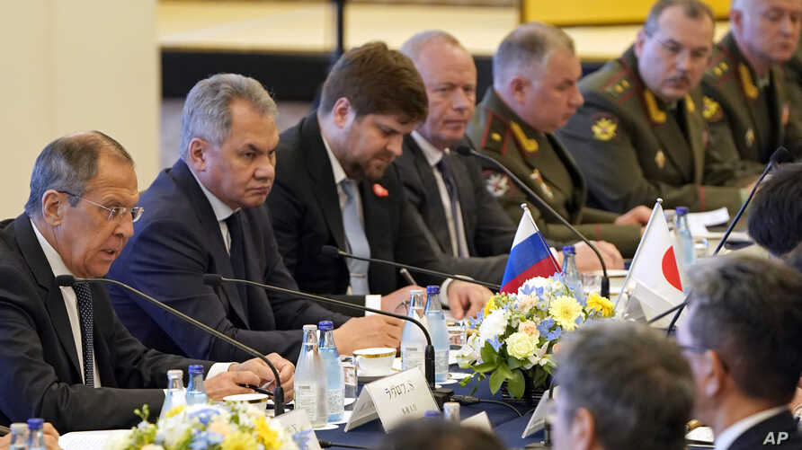 Russian Foreign Minister Sergei Lavrov (L) and Defense Minister Sergei Shoigu (2nd-L) attend a meeting with Japanese Foreign Minister Taro Kono and Defense Minister Takeshi Iwaya at the Iikura guest house in Tokyo, May 30, 2019.