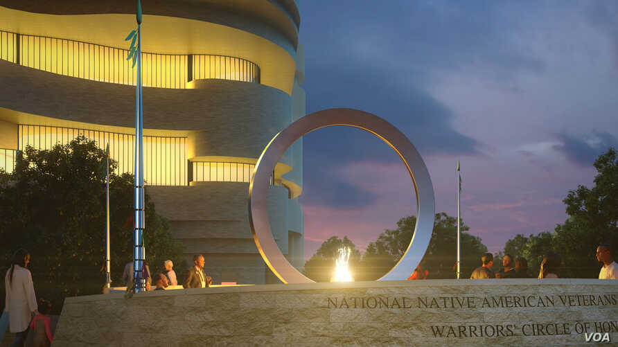 Artist rendering of The National Native American Veterans Memorial, Warriors' Circle of Honor, Harvey Pratt (Cheyenne/Arapaho).