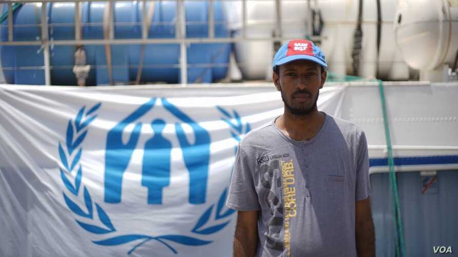 Somali refugee Saeed Salim Sa'ad Barshaid prepares to return home on a ferry from Aden, Yemen. (UNHCR/Ahmed Abdullah Bahulais)
