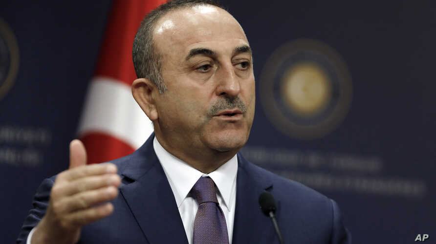 Turkish Foreign Minister Mevlut Cavusoglu speaks during a news conference in Ankara, Turkey, April 23, 2019.
