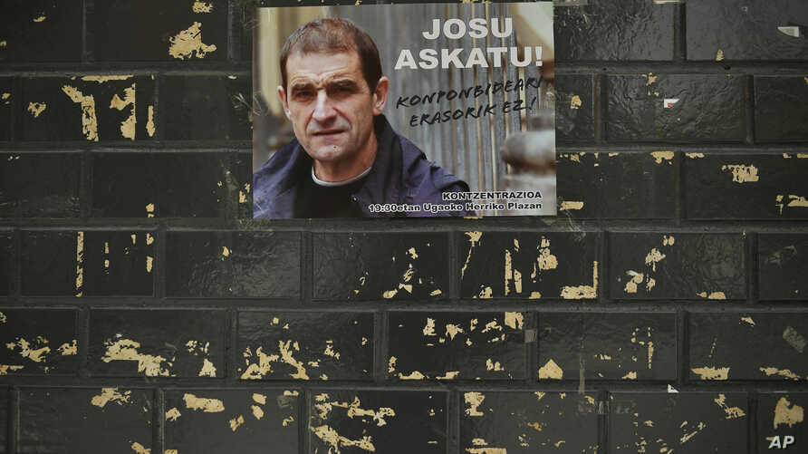 A poster with the face of Basque separatist militant Josu Ternera is attached to a wall in his home town of Ugao-Miraballes, Spain, May 16, 2019.