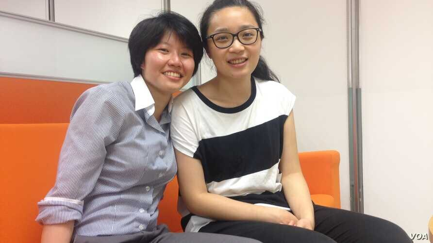 Yang Hsun, left, and Hsu Pei-chieh of Taipei plan to marry under a law passed Friday in Taiwan allowing same-sex marriages.