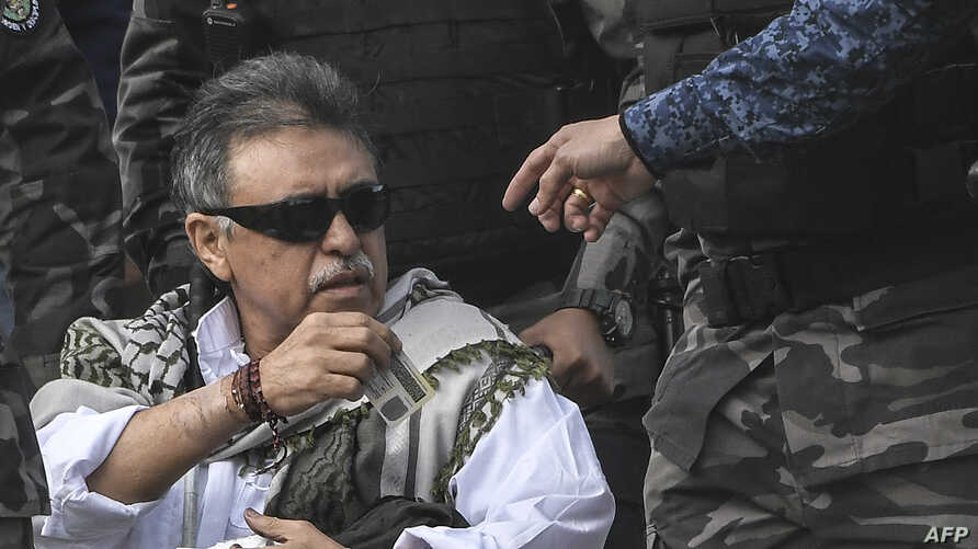 Colombian FARC political party member Jesus Santrich being released from La Picota prison in Bogota, Colombia, May 17, 2019. Santrich, wanted by the United States on drug trafficking charges, was immediately rearrested.