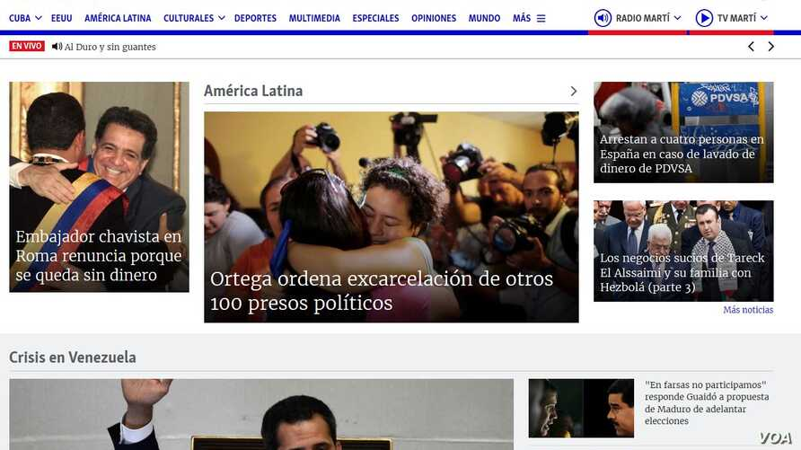 The online Radio TV Marti website, programmed by the Office of Cuba Broadcasting.
