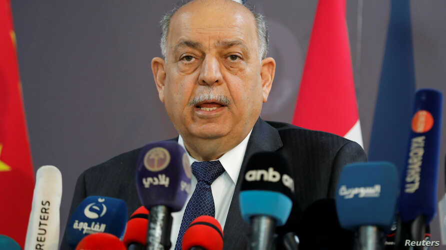 Iraqi Oil Minister Thamer Ghadhban speaks to the media at the ministry's headquarters in Baghdad, May 8, 2019.