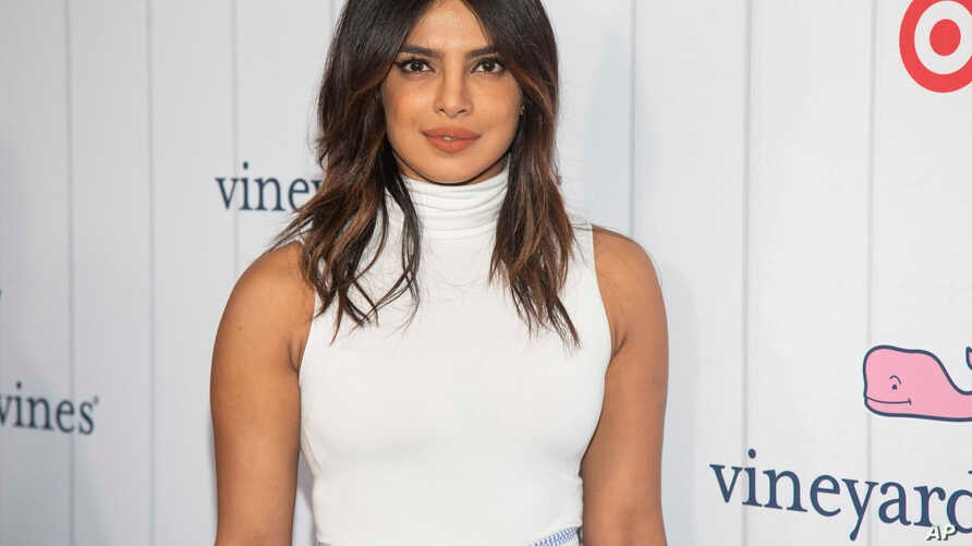 Actress Priyanka Chopra attends the Vineyard Vines for Target launch event at Brookfield Place on May 9, 2019, in New York.