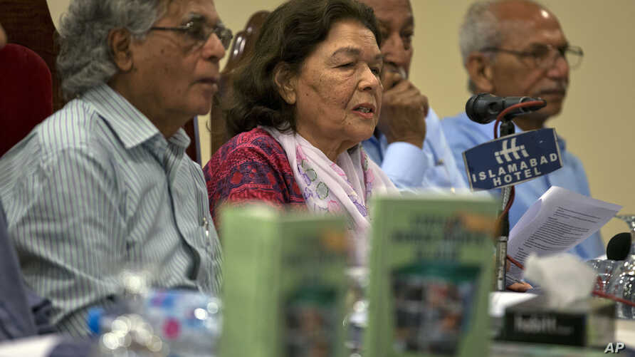Pakistani human rights activist Nasreen Azhar, second left, addresses the audience at a launching ceremony for the report, State of Human Rights in 2018, in Islamabad, April 15, 2019.