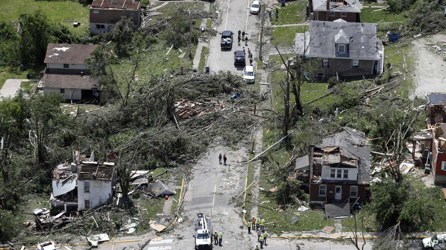 This aerial image shows severe storm damage in Jefferson City, Mo., May 23, 2019, after a tornado hit overnight. A tornado tore apart buildings in Missouri's capital city as part of an overnight outbreak of severe weather across the state.