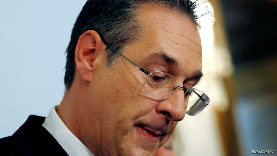 Austrian Vice Chancellor Heinz-Christian Strache reacts as he addresses the media in Vienna, May 18, 2019.