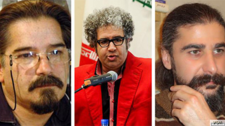 Iranian writers Reza Khandan-Mahabadi, left, Baktash Abtin, center, and Keyvan Bajan, members of the Iranian Writers Association, were sentenced on May 15, 2019, to six years in prison each by a Tehran court for alleged security offenses, according t...