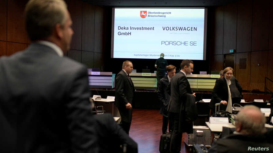 FILE - General view at the court room before the Model Case Act trial involving Volkswagen AG and Porsche SE and German Capital Markets in Braunschweig, Germany, Sept. 10, 2018
