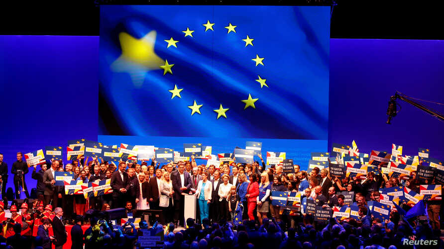 Annegret Kramp-Karrenbauer, Chairwoman of Germany's Christian Democratic Union party CDU, Markus Soeder, leader of Bavaria's Christian Social Union party CSU and Manfred Weber, the EU candidate of the two German conservative sister parties kick off t...