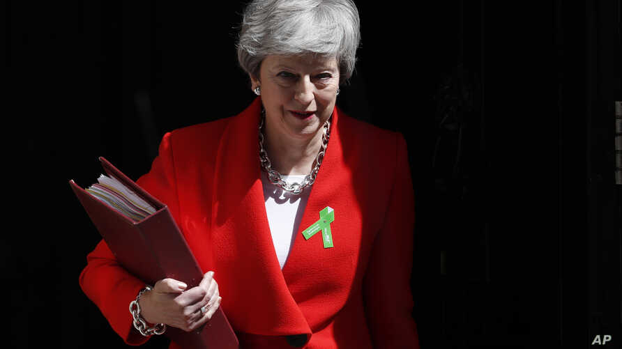 Britain's Prime Minister Theresa May leaves 10 Downing Street in London, May 15, 2019.