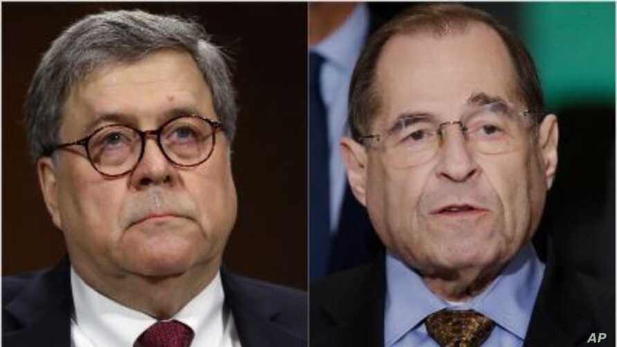 From left, Attorney General William Barr and House Judiciary chairman Jerrold Nadler of New York.