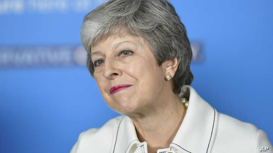 Britain's Prime Minster Theresa May speaks at a EU election campaign event in Bristol, England, May 17, 2019.