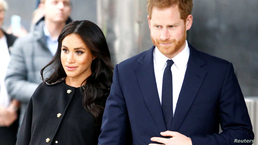FILE - Britain's Prince Harry and Meghan, Duchess of Sussex in London, Britain.