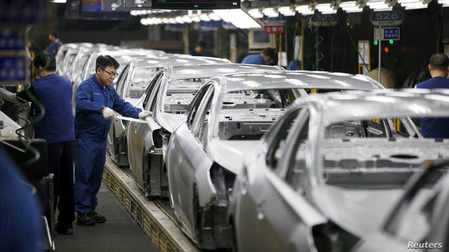 FILE - A worker works at an assembly line of Hyundai Motor's plant in Asan, South Korea, Jan. 27, 2016.