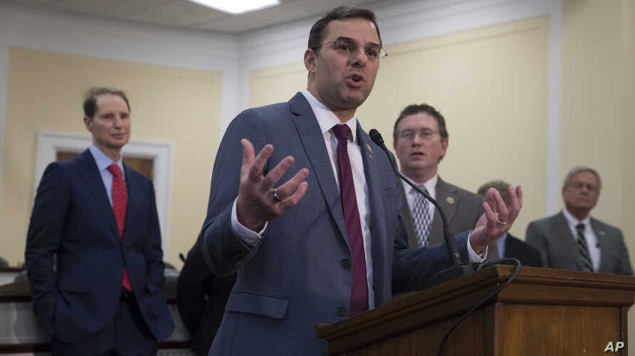 FILE - Rep. Justin Amash, R-Mich., speaks at a news conference at the Capitol in Washington, Jan. 10, 2018. On May 18, 2019, Amash became the first Republican federal lawmaker to accuse President Donald Trump of engaging in ``impeachable conduct.''