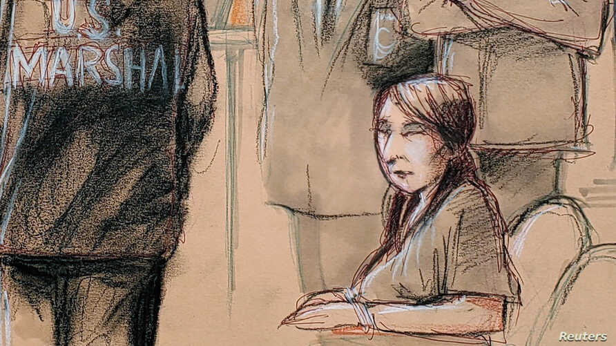 Yujing Zhang, charged with bluffing her way into President Donald Trump's Florida resort, is seated upon arrival with U.S. Marshals, awaiting for the start of her hearing at the U.S. federal court in this courtroom sketch, in West Palm Beach, Florida...