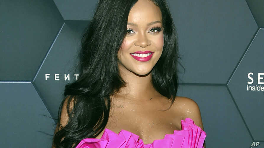 FILE - Rihanna arrives at the Fenty Beauty by Rihanna one year anniversary party at Sephora in New York.