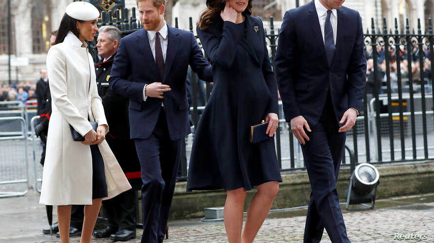 FILE - Britain's Prince Harry, his then-fiancee Meghan Markle, Prince William and Kate, the Duchess of Cambridge, arrive at the Commonwealth Service at Westminster Abbey in London, March 12, 2018. The four royals launched a phone messaging service fo...