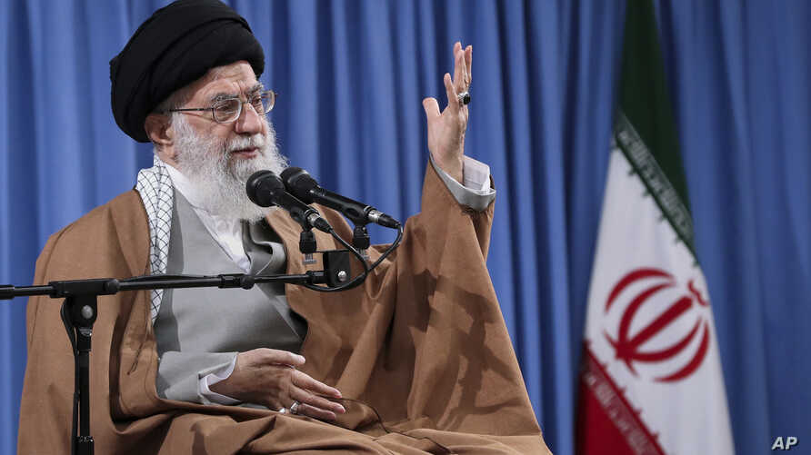 "In this picture released by an official website of the office of the Iranian supreme leader, Ayatollah Ali Khamenei speaks at a meeting with a group of  Revolutionary Guards and their families, in Tehran, Iran, April 9, 2019. Khamenei praised Iran's Revolutionary Guard and said America's ""evil designs would not harm"" the force after the White House designated the guard a foreign terrorist organization. (Office of the Iranian Supreme Leader via AP)"