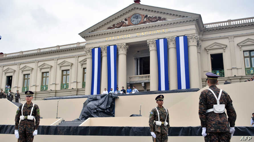 Salvadoran soldiers take part in a rehearsal during preparations for the presidential inauguration ceremony in downtown San Salvador, May 29, 2019.