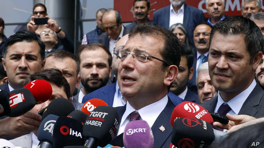 Ekrem Imamoglu, mayoral candidate of the main opposition Republican People's Party, CHP, speaks to the media after emergency talks with senior CHP officials, in Ankara, Turkey, May 7, 2019.