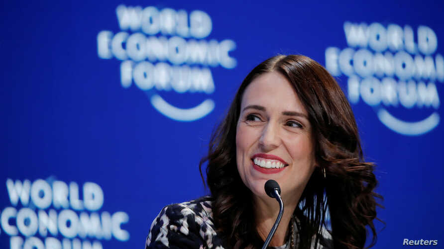 New Zealand's Prime Minister Jacinda Ardern smiles as she attends the World Economic Forum annual meeting in Davos, Switzerland, Jan. 22, 2019.
